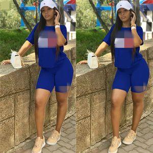 tommy hilfiger 2pcs der Frauen Designer Trainingsanzüge Kurzarmshirts Shorts Suits Sexy Crew Ansatz beiläufige 2 Stück Hosen Sets Damen Sport Sommer dünn Outfits