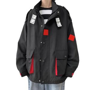 2020 Autumn Solid Color Jackets Mens Big Pockets Korean Casual Loose Jackets Mens Hooded Windbreaker