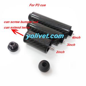 Econimic 2 inç / 3 inç / 4 inç isteğe bağlı karbon P3 ortak Havuz cue uzantıları iki kez uzatabilir Bilardo cue genişletici aksesuarları toptan