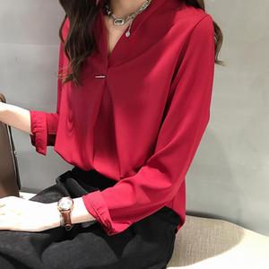 Moda Mulheres Spring Autumn Chiffon blusas Camisas Mulheres Casual manga comprida V Neck-shirts da Mulher elegante Plus Size Tops Df3322
