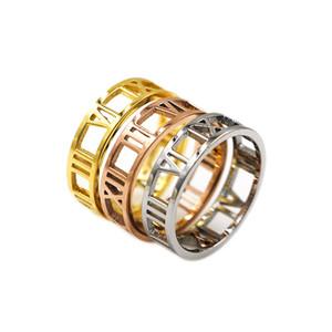 Kadınlar için erkek ve kadın Moda marka tasarımcısı klasik takı altın çift yüzük zirkon Şık minimalist romen rakamları