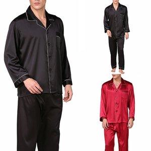 2020 Yeni Erkek Leke İpek Pajama Erkek İpek pijamalar Erkekler Seksi Modern Stil Yumuşak Rahat Saten Gecelik Setleri