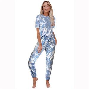 여자 그라데이션 2 개 느슨한 운동복 여름 디자이너 크루 넥 졸라 매는 끈 넥타이 염료 홈 정장 의류 여성 편안한 설정