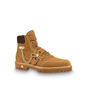 Luxo Primavera-Verão Mens Creeper Botim com corrente Pin Womens couro genuíno Martin Botas monograma Sapatinho Sneaker Bota Designer Shoes