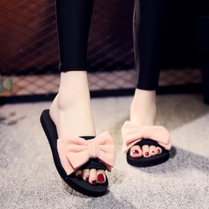 Women Bow Summer Sandals Slipper Indoor Outdoor Flip-flops Beach Shoes New Fashion Female Casual flower Slipper chanclas mujer t16