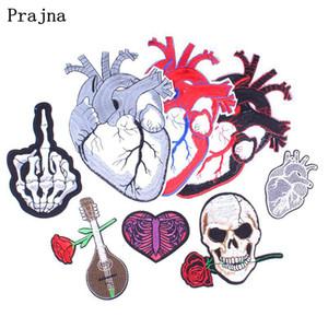 Prajna Punk Rock Heart Skull Patch Cosa En Hierro en Biker Parches Parches Bordados Baratos Para Ropa DIY Chaqueta Insignia Apliques