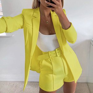 2020 Explosion Women's Clothing Spring and Autumn Fashion Long Sleeve Cardigan Jacket Shorts Solid Color Two-piece Lady Suit