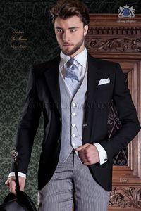 Brand New Groom Tuxedos Black Men Wedding Tuxedos Notch Lapel Center Vent Men Jacket Blazer 3 Piece Suit(Jacket+Pants+Tie+Vest) 821