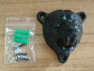 VINTAGE CAST IRON WALL MOUNTED BEER BOTTLE OPENER ANTIQUE OLD STYLE Solid BEAR HEAD Bottle Openers W Screws
