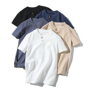 Mens Pullover Camisas de lino de manga corta de verano transpirable para hombre de calidad camisas casuales Slim fit sólido camisas de algodón hombres m-5xl