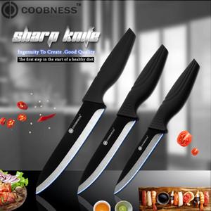 YKC Coobness Marque 3 \ « 4 \ » 5 \ « 6 \ » Couteau en céramique noire Haut Grade lame noire poignée Couteau de cuisine Ensemble 3 pièces