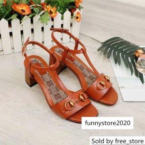 2019 Top qualité Lettre boucle en métal Chaussures à talon en cuir véritable mode femme sandales talons épais 35-42 ETUI