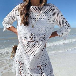 Frauen Strandkleid reine Farbe Satz des Kopf ausgehöhlt Seide Blumenknospe Haken obere Kleid Art und Weise lose Bikini 2020 Sommer neue Bluse ungefüttert