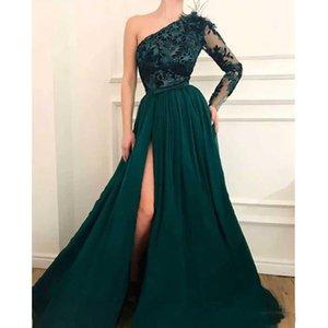 Элегантный темно-зеленый одно плечо Вечерние платья 2020 Аппликации Bow Tie Sash с пером Новоселье Long Side Split Abric Пром