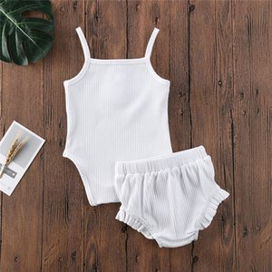 2020 Brand Baby Girls Clothes Set 0-24M 2Pcs Kids Baby Girl Clothes Set Cotton Sling Camisole Sleeveless Romper+ Shorts Outfits
