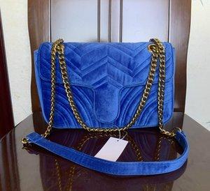 443497 Marmont Малый Шеврон бархатная сумка женщины роскошные цепи crossbody сумка сумки известный дизайнер кошелек женский сообщение 26 см