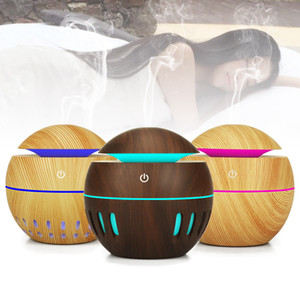USB Madera Grano Difusor Ultrasónico Aroma Humidificador Aromaterapia Mini Portátil Hollow Mist Maker 7 colores LED cambiante difusor 130ML RRA899