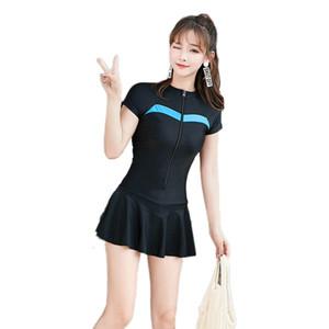 M-4XL Falda sexy Traje de baño inferior Mujer 2019 Cremallera Traje de baño de una pieza Trajes de baño de manga corta Traje de baño de gran tamaño Ropa de playa