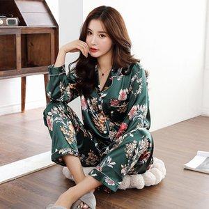 Satén de seda pijamas de mujer Imprimir Turn-down Collar sedoso Pijama Longitud de las mujeres de la manga 2 Piezas Conjuntos de casa Ropa Casual Traje