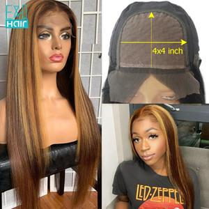 Base de seda 4x4 del encierro del cordón peluca recta Resalte Honey Blonde Remy brasileño 180 Densidad del frente del cordón pelucas del pelo humano para las mujeres