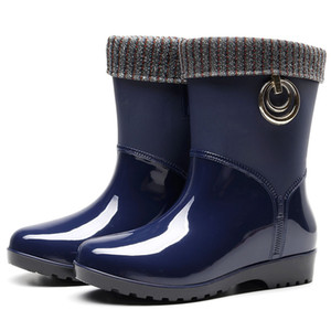Punk Style Mid-Calf Rain Boots Women Rubber Winter Warm Snow Boots Women's Non-Slip Rain Boots Outdoor Water Shoes