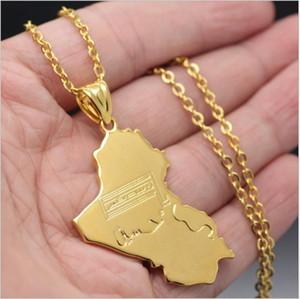 La dernière tendance explosive, la mode et les ventes attrayantes d'or, belle et généreuse carte irakienne, pendentif hip-hop COPPER NECKLACE JEWELRY