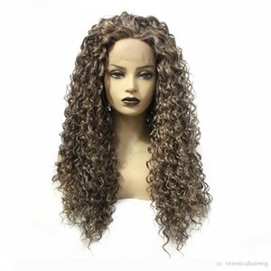 New Style Ash Brown Long Kinky Curly Synthetic Lace Front Wig For Fashion Women Free Part High Temperature Fiber Wigs Baby Hair