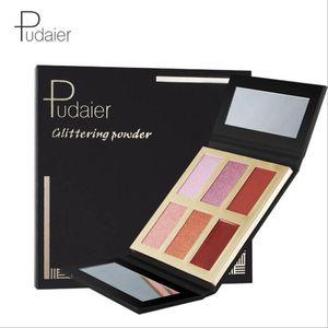 Pudaier Brand Pressed glow master 6 colores resaltan paleta sombra de ojos reparación rubor discos polvo brillante