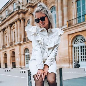 Foridol Dress Casual Denim Donna primavera estate Vintage Ruffle Puff Sleeve Runway Button abito bianco corto Chic Vestidos