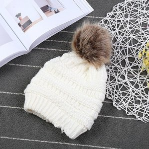 Kids & Adults Fur Pom Beanies With Liner Trendy Hats Winter Knitted Luxury Cable Slouchy Skull Caps Leisure Beanies CCA 20pcs
