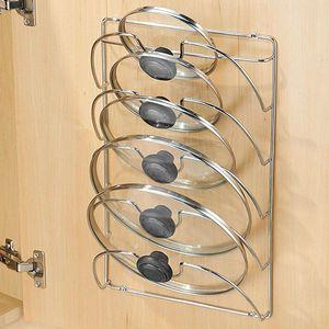 Pan Lid Storage Rack Wall Mount Pot Cover Organizer Holder Kitchen Supplies TN88 T200319