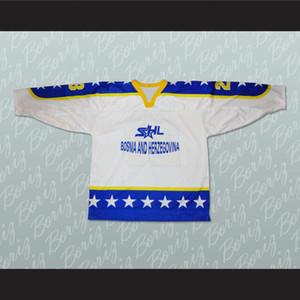 Bosnia Herzegovina Nacional blanca del equipo de hockey Jersey personalizado cualquier nombre cualquier número del envío de la S-XXXL