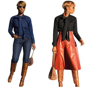 2019 Frühling Winter volles Hülsen-T-Shirt Büro-Dame-Denim-Bow Tops Fashion Frauen Sexy Beach Jacken Tees Bluse Shirt
