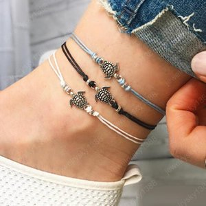 Hot Bohemian Fashion Jewelry Cute Turtle Anklet Chain Handmade Ankle Bracelet Beach Anklets 3pcs set