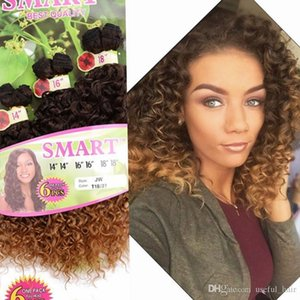 6PCS LOT for one head Christmas beautiful ombre color Synthetic hair wefts Jerry curl crochet hair extensions crochet braids hair weaves
