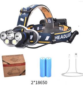 5 LED T6 Scheinwerfer 3LED 2COB Taschenlampe 20000 Lumen 8-Modus Zoomable Scheinwerfer Wiederaufladbare Kopf-Lampen-Taschenlampe + 2 * 18650 Battery + USB-Ladegerät
