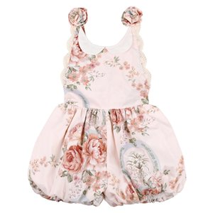 Flofallzique Vintage Floral Baby Dress Girls Sweet Shoulder Straps With Flower Decoration For Outdoor Leisure Party kids Clothes