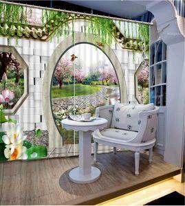 Flower round peach Tende Decorazione 3D 3D tende per soggiorno Blackout Roaantic camera da letto Camera da letto finestra tenda