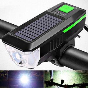 Bicycle Headlight Horn Lights Night Riding USB Charging Headlights Bicycle Glare Solar Bike Front Lamp
