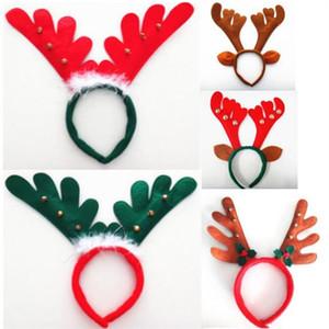 Рождественский олень рога Hairband Белл Deer Horn Headban Ear Head Обручи для Halloween Party праздник Художественные оформления взрослых детей носить 6 цветов