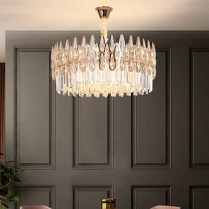 Crystal chandelier lighting for hotel decor living room bedroom dining room new luxury contemporary led pendant lights round hanging lamps