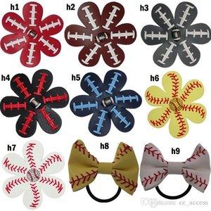 Softball Flower Accessory and hair clip,softball baseball football soccer hair bows Bling Hairbow