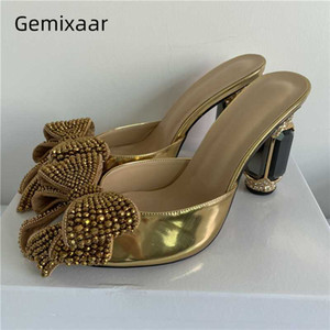Patente couro ouro sapatos de salto alto Mulher Cristal Borboleta-nó Toes Decor Abertas Jeweled Rhinestone Diamante Heel Slippers Mulheres