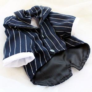 Freeshipping false two-piece dog clothes striped navy blue dog suit shirt bow tie pet wedding ropa perro mascotas roupa cachorro