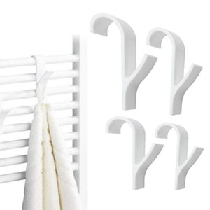 4 or 6 Pcs High Quality Hanger for Heated Towel Radiator Rail Bath Hook Holder Clothes Hanger Percha Plegable Scarf Hanger White