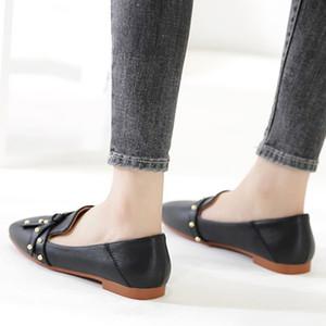 Doratazya Marka Casual Siyah Kadın Klasik Moda Pompalar Kadınlar Perçin Kare Ayak Düşük Topuk Sığ Ayakkabı Üzerinde Kayma Kadın