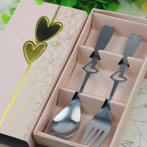 Ücretsiz kargo SG Mükemmel Çifti Kahve Kaşık ve çatal hediye Kutusu içinde Parti hediyelik eşya Düğün Hediyeleri için Konuk