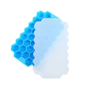Honeycomb Ice Lattice with Cover Silicone Ice Mold Grids Ice Making Mold Silica Gel Fruit Frozen Mold aa
