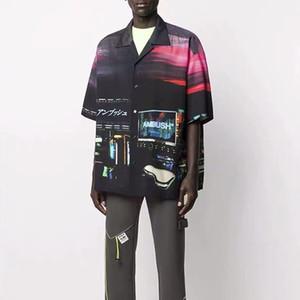 20SS Cyberpunk European Street Neon Voir shirt japonais Imprimer chemisettes Mode Hommes Femmes Couple T-shirt HFXHTX258