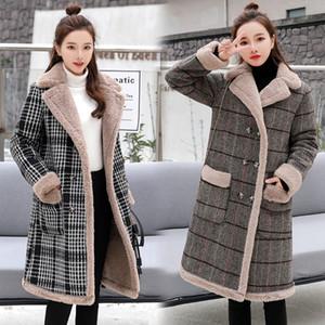 Hiver femme manteaux en peau de mouton à carreaux vestes survêtement femme double boutonnage moyen long épais chaud manteau de laine de faux agneaux